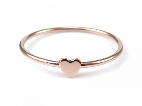 Rose Gold Filled Stacking Ring with Heart ~ Size L