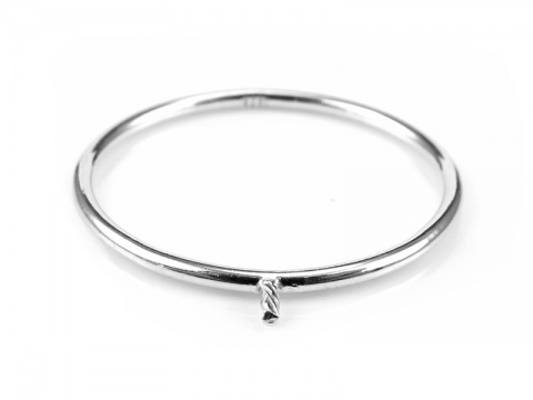 Sterling Silver Stacking Ring with Peg ~ Size N