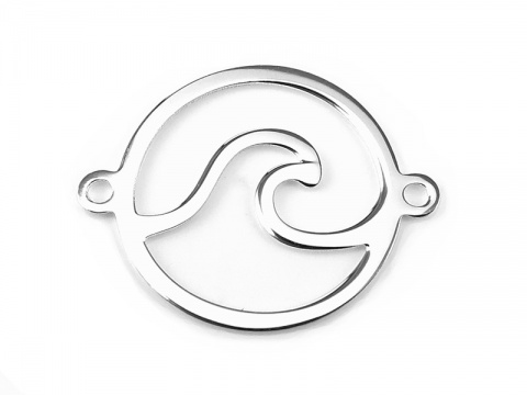 Sterling Silver Wave Connector 15mm