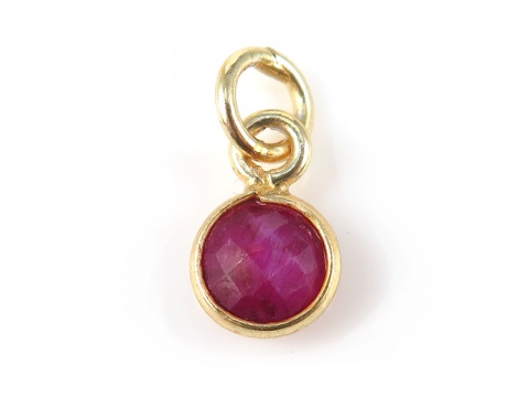 Gold Vermeil Ruby Round Charm 6mm