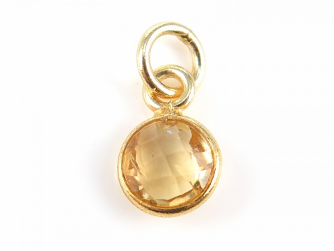 Gold Vermeil Citrine Round Charm 6mm