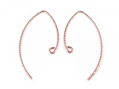 Rose Gold Filled V Shape Sparkle Ear Wire 32mm~ PAIR