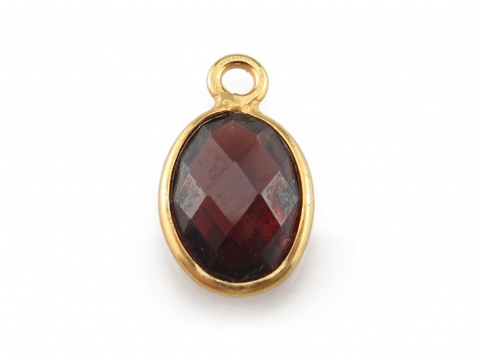 Gold Vermeil Garnet Oval Charm 11-12mm