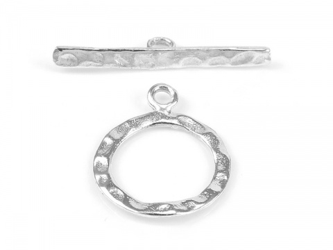Sterling Silver Hammered Toggle and Bar Clasp 13mm