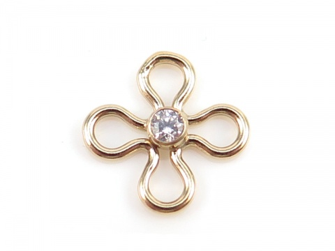 Gold Filled Flower Connector with CZ 10mm