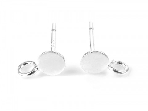 Sterling Silver Ear Post with Flat Pad and Ring 4mm ~ PAIR