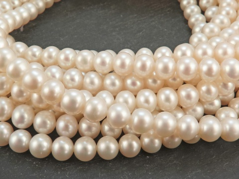 Freshwater Pearl Ivory Off-Round Beads 6-6.5mm ~ 16'' Strand