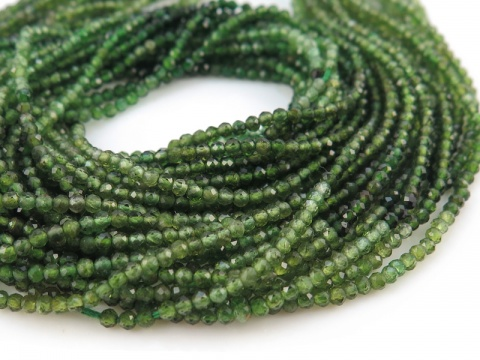 AA Green Tourmaline Micro Faceted Rondelles 2mm ~ 13'' Strand