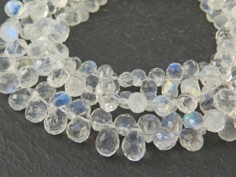AA Rainbow Moonstone Faceted Teardrop Briolettes 5.5-6mm ~ 8'' Strand