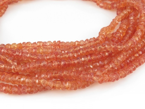 Light Orange Sapphire Faceted Rondelles 2.75-3.25mm ~ 16'' Strand