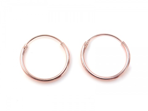 Rose Gold Plated Sterling Silver Hoops 14mm  ~ PAIR