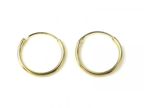 Gold Plated Sterling Silver Hoops 14mm  ~ PAIR