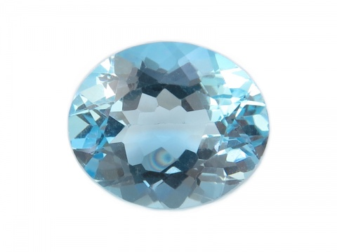 Sky Blue Topaz Faceted Oval 12mm x 10mm