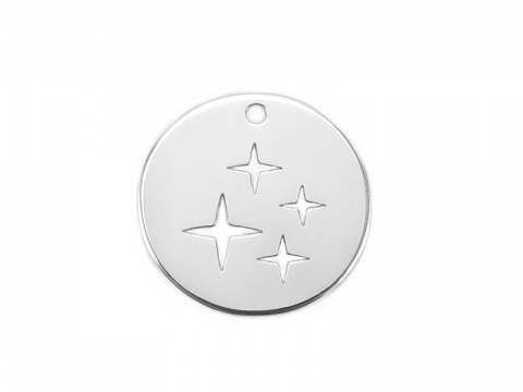 Sterling Silver Four Stars Pendant 13mm