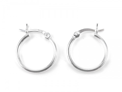 Sterling Silver Hinged Earring Hoop 15mm ~ PAIR