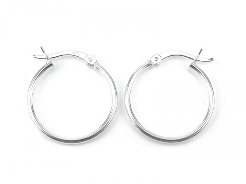 Sterling Silver Hinged Earring Hoop 20mm ~ PAIR