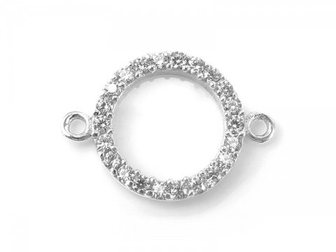 Sterling Silver Zircon Circle Connector 18mm