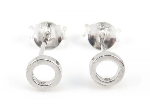 Sterling Silver Circle Ear Studs ~ PAIR