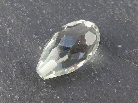 Green Amethyst Faceted Teardrop ~ Half Drilled ~ 14mm x 8mm