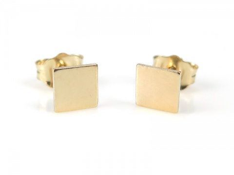 Gold Filled Square Ear Studs ~ PAIR
