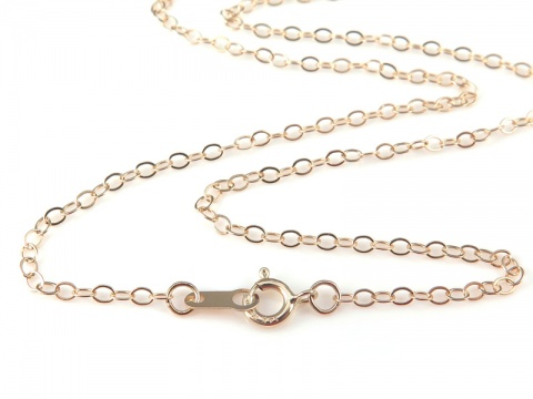 14K Gold Flat Cable Chain Necklace with Spring Clasp ~ 18''