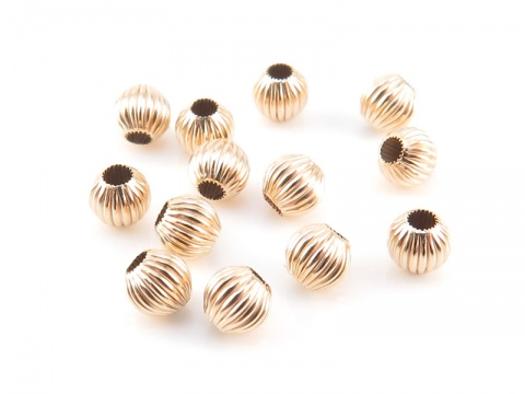 14K Gold Corrugated Bead 4mm