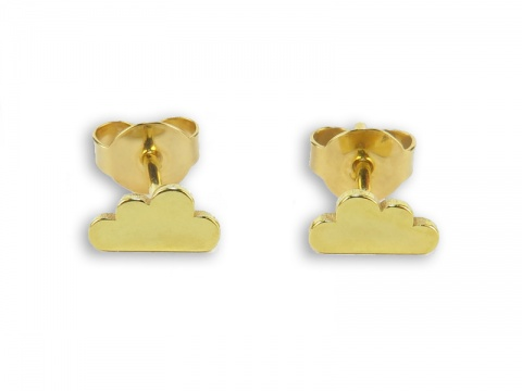 Gold Vermeil Cloud Ear Studs  ~ PAIR