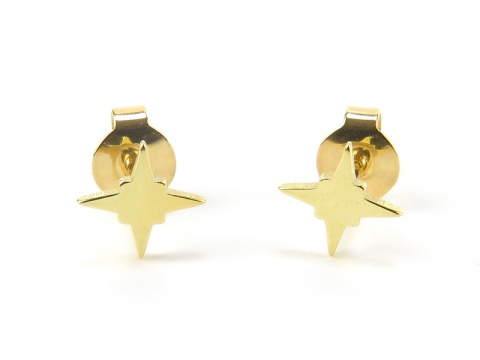 Gold Vermeil Pole Star Ear Studs  ~ PAIR