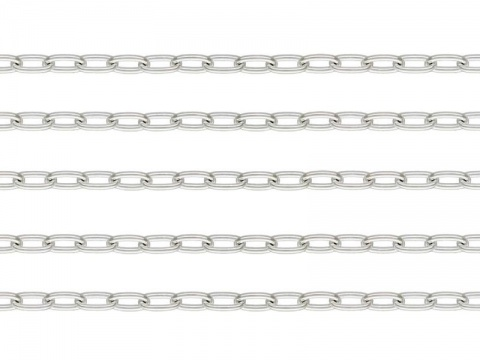 Sterling Silver Long Oval Cable Chain 3.5mm x 1.75mm  ~ Offcuts