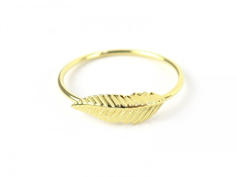 Gold Plated Sterling Silver Feather Ring ~ Various Sizes