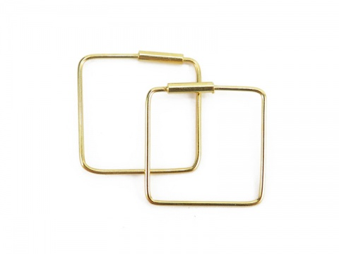 Gold Plated Sterling Silver Square Earrings ~ PAIR