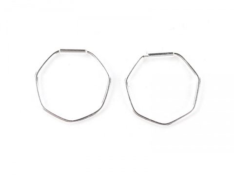 Sterling Silver Hexagon Hoops 12mm  ~ PAIR