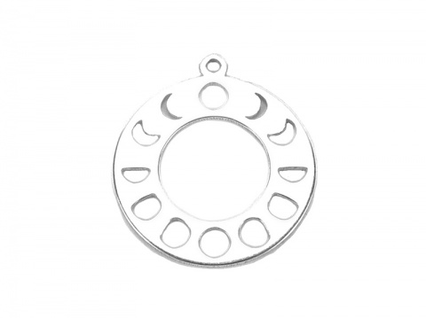 Sterling Silver Lunar Cycle Pendant 16mm