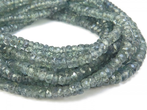 AA+ Green Songea Sapphire Faceted Rondelles 3-4mm ~ 16'' Strand