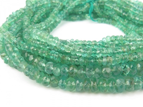 Emerald Faceted Rondelles 2.25-4.5mm ~ 17.5'' Strand