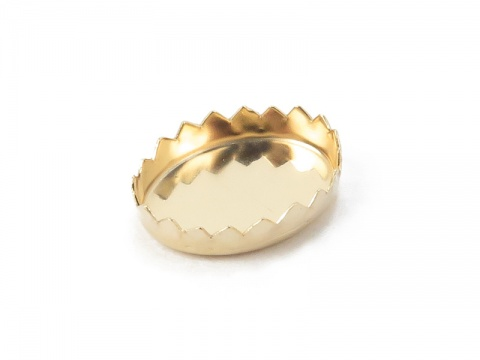 14K Gold Serrated Oval Bezel Cup Setting 10mm x 8mm