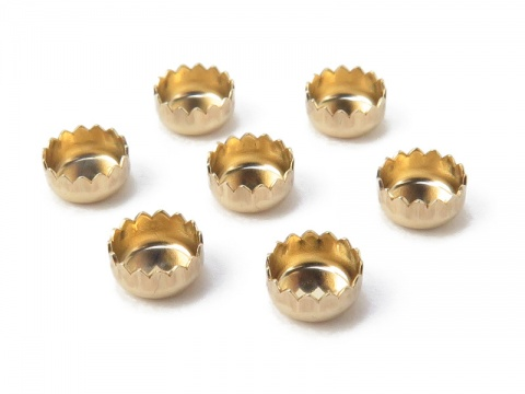 14K Gold Round Serrated Bezel Cup Setting 4mm