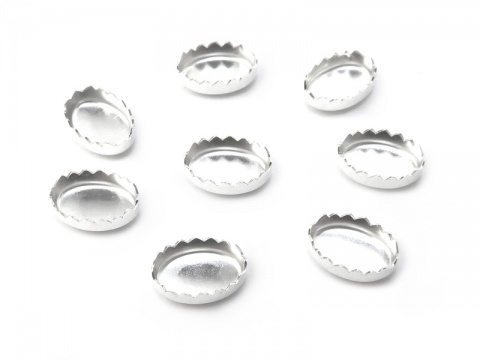 Sterling Silver Serrated Oval Bezel Cup Setting 6mm x 4mm