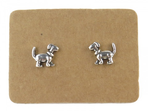 Sterling Silver Dog Ear Studs  ~ PAIR
