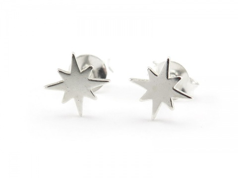 Sterling Silver Pole Star Ear Studs  ~ PAIR