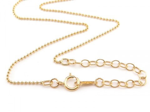 Gold Filled Adjustable Length Bead Chain Necklace with Spring Clasp ~ 15-17''