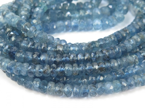 AA Aquamarine Micro-Faceted Rondelles 3-5mm ~ 16'' Strand