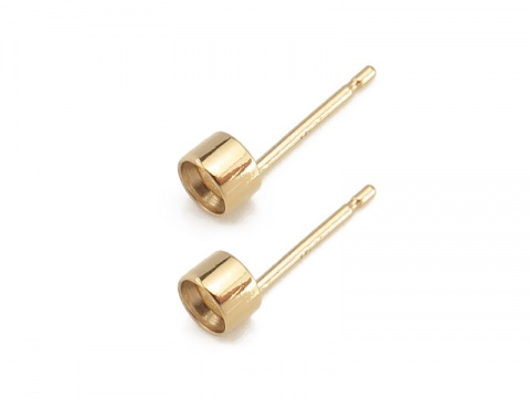Gold Filled Tube Bezel Setting Ear Post 3mm ~ PAIR