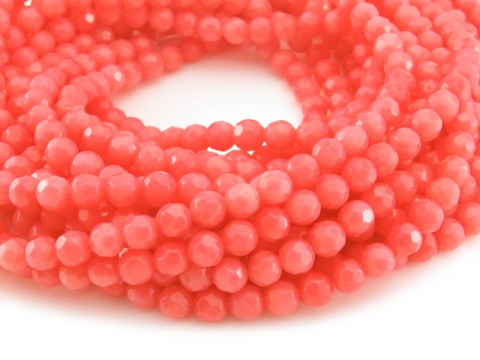 Bamboo Coral Faceted Round Beads 4mm ~ 15'' Strand