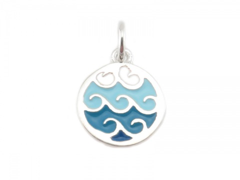 Sterling Silver Blue Wave Charm 9.5mm