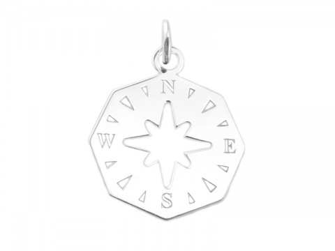 Sterling Silver 8 Sided Compass Pendant 16mm