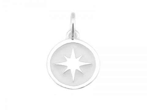 Sterling Silver White Pole Star Charm 9.5mm