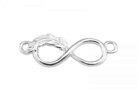 Sterling Silver Feather Infinity Connector 22mm
