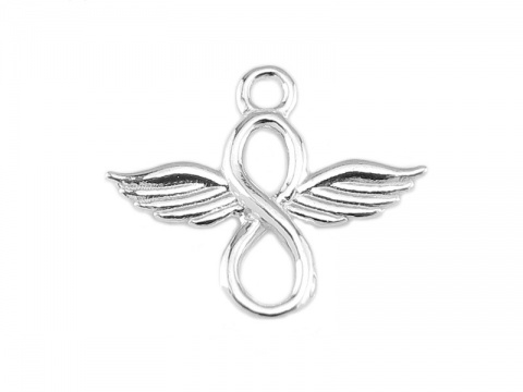 Sterling Silver Angel Wings Infinity Pendant 15mm