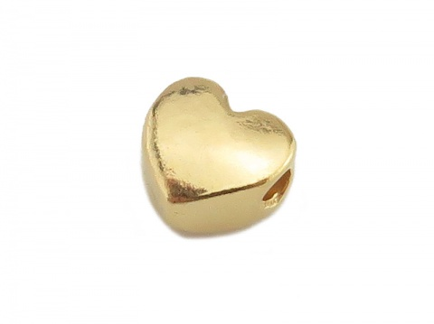 Gold Vermeil Heart Bead 6mm